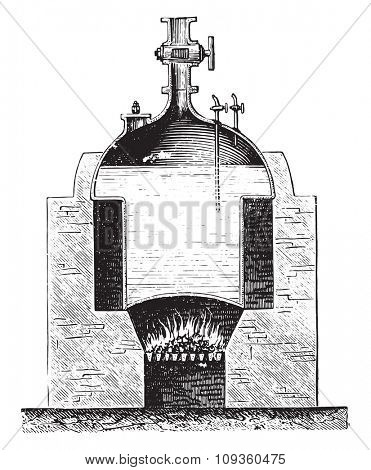 Boiler Newcomen, vintage engraved illustration. Industrial encyclopedia E.-O. Lami - 1875.
