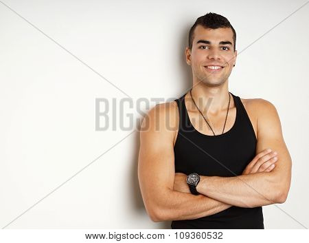 Young man in black undershirt