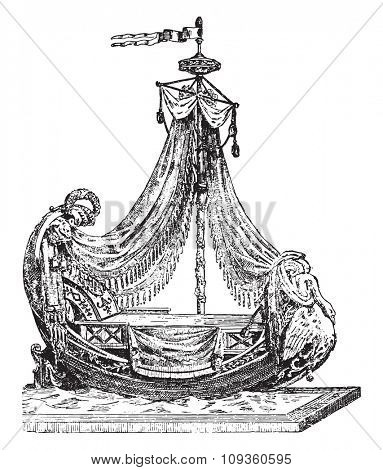 Empire style bed, vintage engraved illustration. Industrial encyclopedia E.-O. Lami - 1875.
