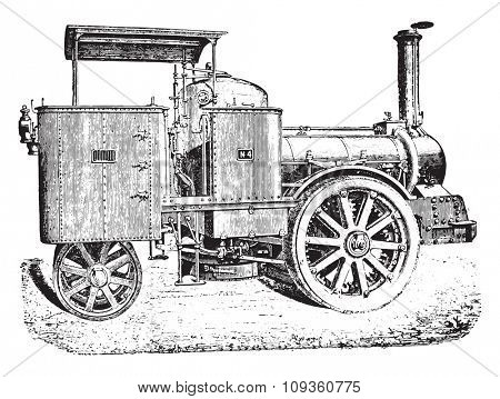 Road Locomotive, Cail system, vintage engraved illustration. Industrial encyclopedia E.-O. Lami - 1875.