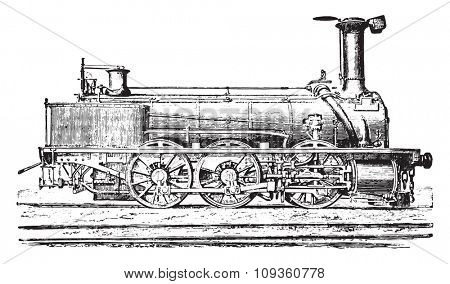 Mixed machine with three coupled axles for passenger trains and goods, vintage engraved illustration. Industrial encyclopedia E.-O. Lami - 1875.