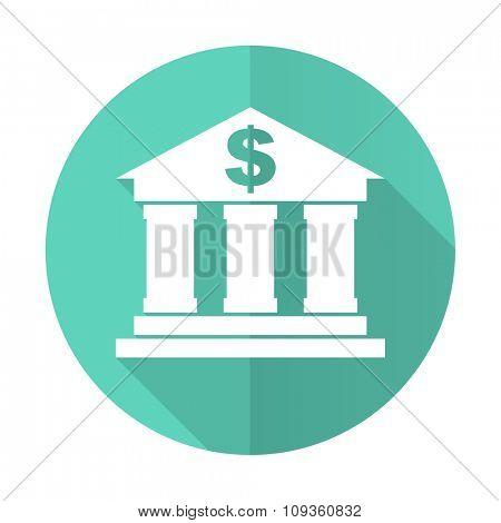 bank blue web flat design circle icon on white background