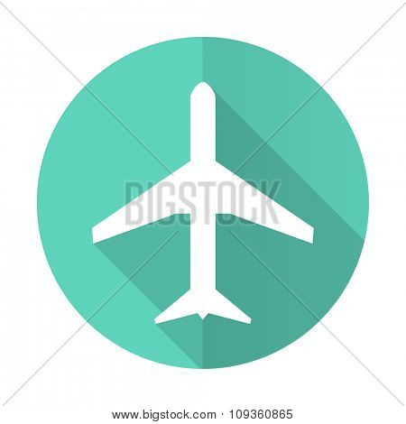 plane blue web flat design circle icon on white background