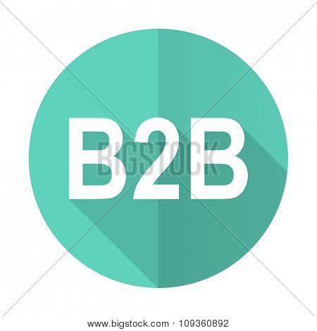 b2b blue web flat design circle icon on white background