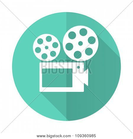 movie blue web flat design circle icon on white background