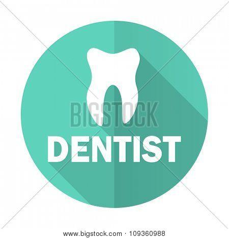 dentist blue web flat design circle icon on white background