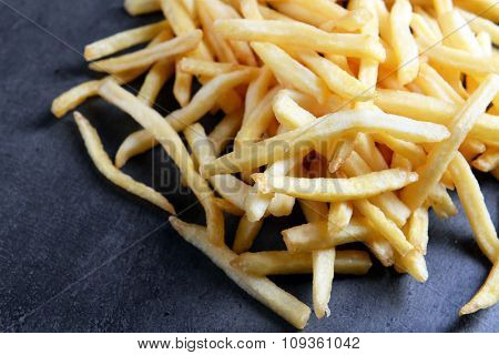 French fries on table, close-up