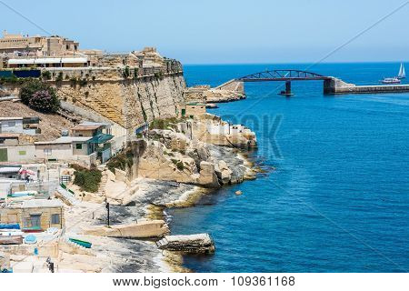 scenic view on coastal part of Valletta city in Malta from high