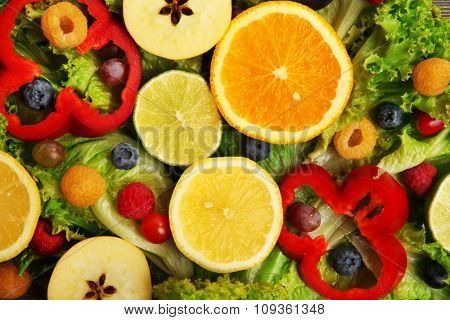 Colourful fruits and vegetables background