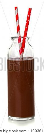 Glass bottle of chocolate milk isolated on white