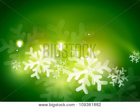 Holiday green abstract background, winter snowflakes, Christmas and New Year design template, light shiny modern illustration