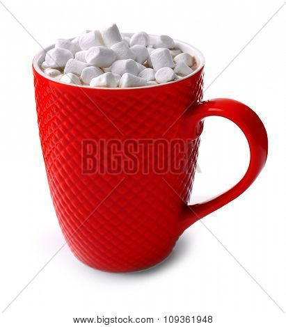 A red cup of cocoa and marshmallow, isolated on white