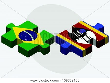 Brazil And Swaziland Flags