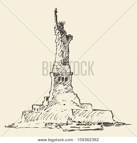 Statue of Liberty vector illustration hand drawn