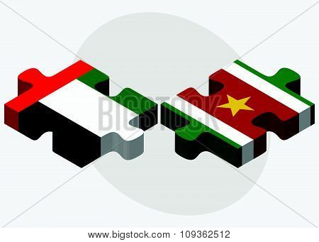 United Arab Emirates And Suriname Flags
