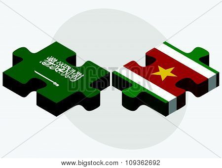 Saudi Arabia And Suriname Flags