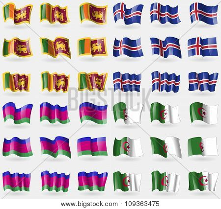Sri Lanka, Iceland, Kuban Republic, Algeria. Set Of 36 Flags Of The Countries Of The World.