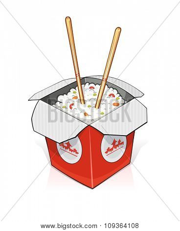 Fast food. Rice in paper container. vector illustration. Isolated on white background. Transparent objects used for lights and shadows drawing.