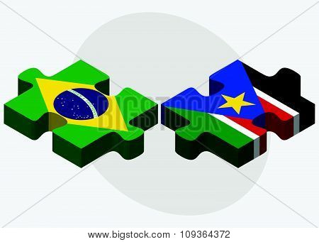 Brazil And South Sudan Flags