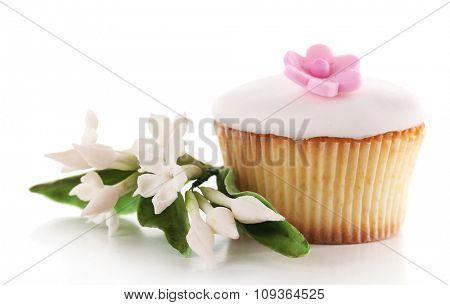 Tasty cupcake, isolated on white