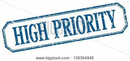 High Priority Square Blue Grunge Vintage Isolated Label