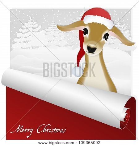 Christmas card with sweet deer in the snowy forest background.