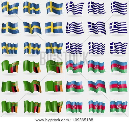Sweden, Greece, Zambia, Azerbaijan. Set Of 36 Flags Of The Countries Of The World.