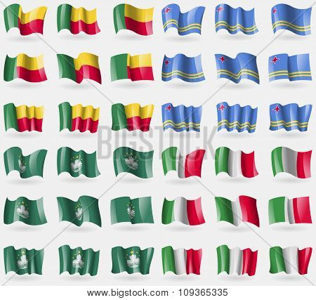 Benin, Aruba, Macau, Italy. Set Of 36 Flags Of The Countries Of The