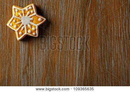 Christmas cookie on wooden table