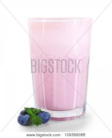 A glass of fresh cold blueberry smoothie, isolated on white