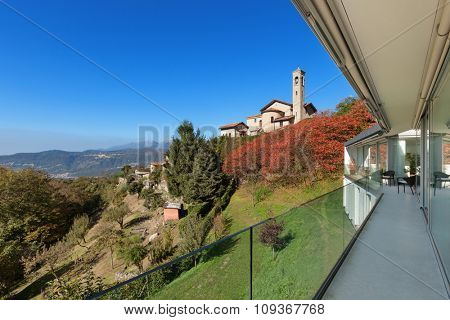 Architecture, perspective balcony of a modern house,�outdoors