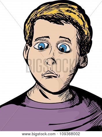 Cartoon Of Serious Child
