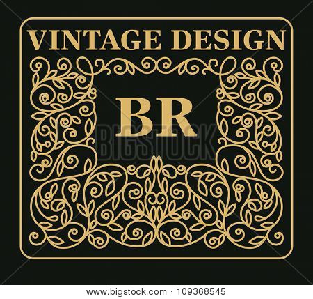 Vintage floral frame with copy space for text in trendy  style - monogram design element. Vector illustration.