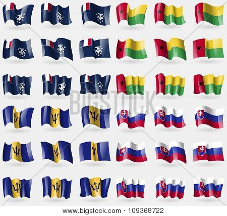 French And Antarctic, Guineabissau, Barbados, Slovakia. Set Of 36 Flags Of The Countries Of The
