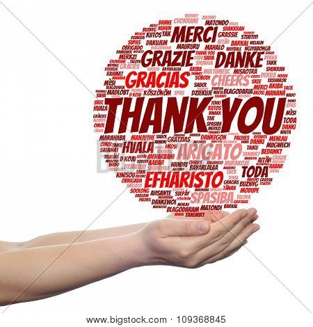 Concept or conceptual abstract thank you word cloud held in hands different language, multilingual as education or thanksgiving day