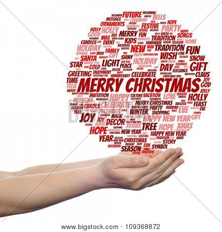 Concept conceptual Merry Christmas holiday or Happy New Year winter red text word cloud isolated