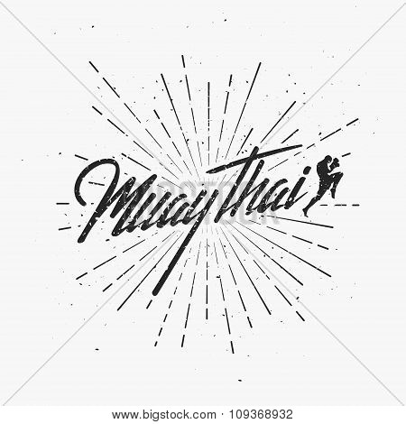 Typography Vintage illustration with Muay Thai Fighter.