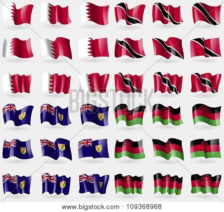 Bahrain, Trinidad And Tobago, Turks And Caicos, Malawi. Set Of 36 Flags Of The Countries Of