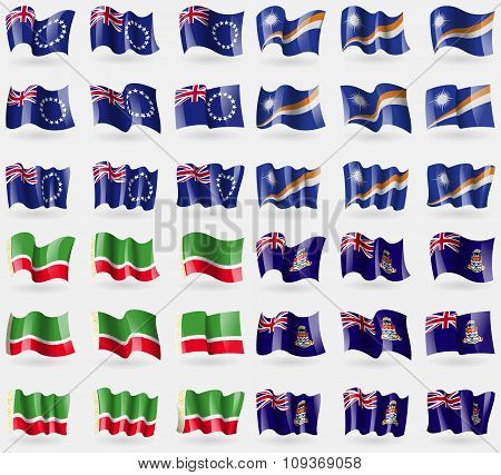 Cook Islands, Marshall Islands, Chechen Republic, Cayman Islands. Set Of 36 Flags Of The