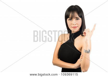 businesswoman in Dress looking, pointing and smiling