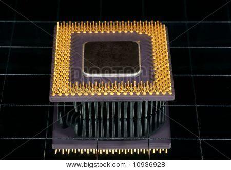 El procesador de la computadora, foto con reflexión