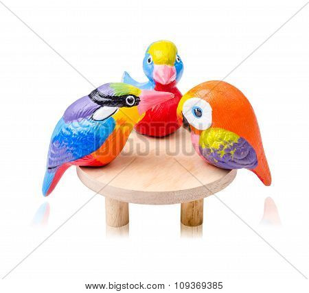 Bird Toy Ceramic And Wooden Table.