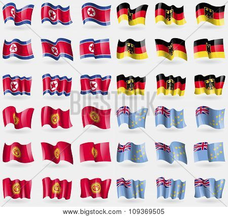 Korea North, Germany, Kyrgyzstan, Tuvalu. Set Of 36 Flags Of The Countries Of The World.