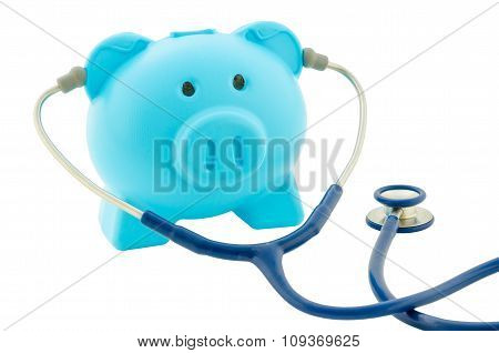 Blue Piggy Bank With Stethoscope Isolated On White Background.