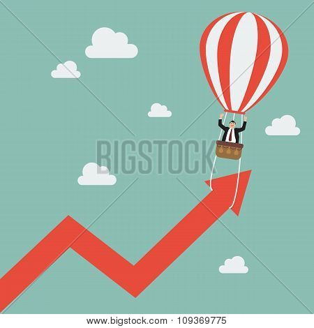 Businessman On Balloon Pull Arrow Graph Up