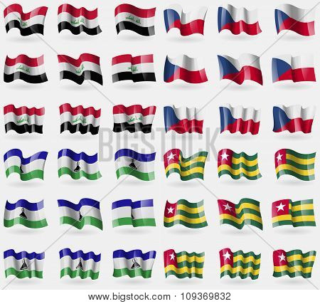 Iraq, Czech Republic, Lesothe, Togo. Set Of 36 Flags Of The Countries Of The