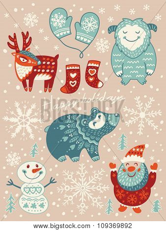 Happy holidays card. Christmas set with cartoon characters. Vector illustration