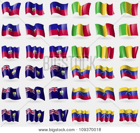 Haiti, Mali, Saint Helena, Venezuela. Set Of 36 Flags Of The Countries Of The World.