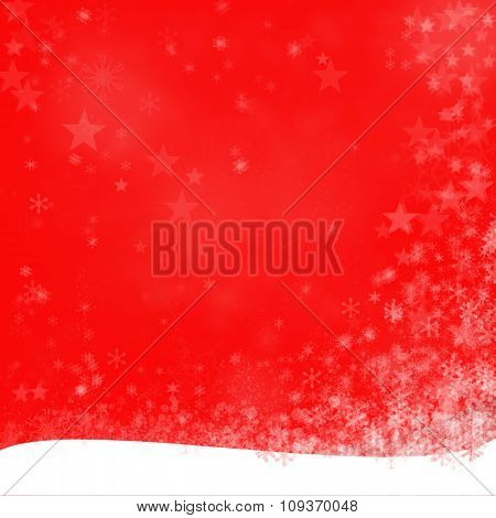 Red Merry Christmas Background With Snow Flakes