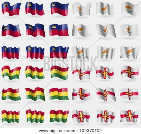 Liechtenstein, Cyprus, Bolivia, Guernsey. Set Of 36 Flags Of The Countries Of The World.